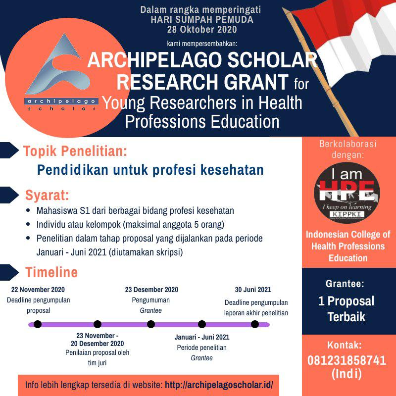ARCHIPELAGO SCHOLAR RESEARCH GRANT FOR YOUNG RESEARCHERS IN HEALTH PROFESSIONS EDUCATION