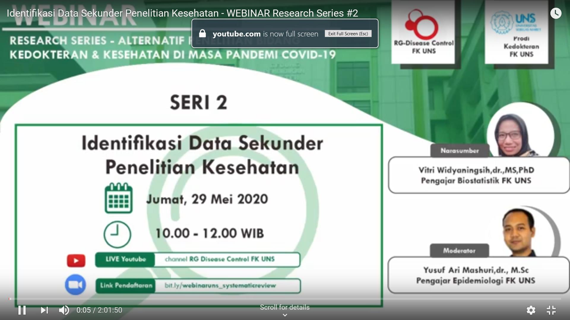 Webinar Prodi Kedokteran FK UNS-RG Disease Control FK UNS Identifikasi Data Sekunder Penelitian Kesehatan