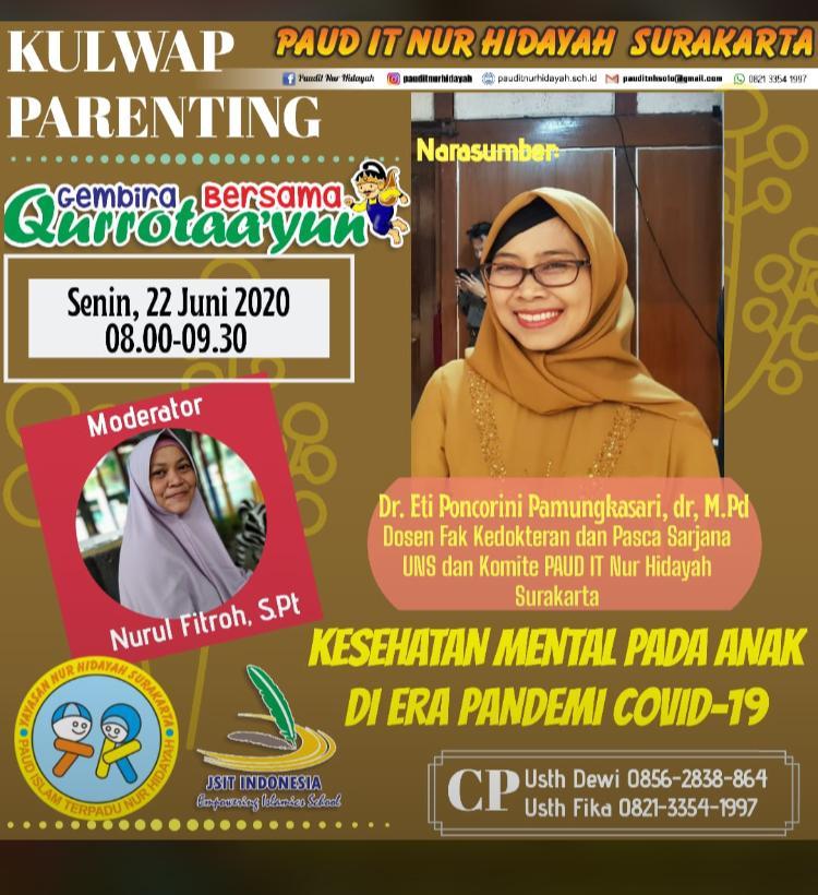 Kaprodi Kedokteran mengisi parenting di PAUD IT Nur Hidayah Surakarta