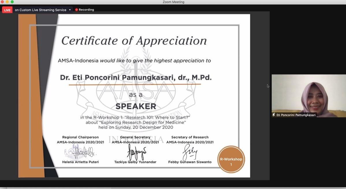 Kaprodi Kedokteran Menjadi Pembicara Workshop