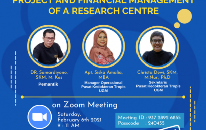 """Sharing session dengan Topik """"Project and Financial Management of A Research Center"""""""